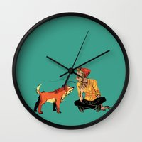 musa Wall Clocks featuring pet the dog by musa