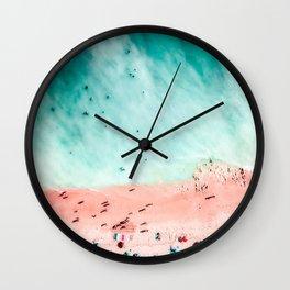 People Crowd On Algarve Beach In Portugal, Crowded Beach, Beach Print, Pink Beach Print, Art Print Wall Clock