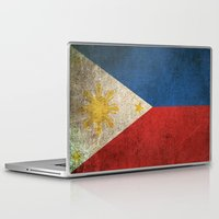 philippines Laptop & iPad Skins featuring Old and Worn Distressed Vintage Flag of Philippines by Jeff Bartels