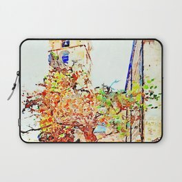 Teramo: seniors sitting on the bench under a tree and the bell tower Laptop Sleeve