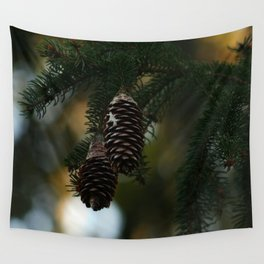 Pine Cones in Winter Wall Tapestry