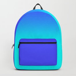 Neon Blue and Bright Neon Aqua Ombré Shade Color Fade Backpack