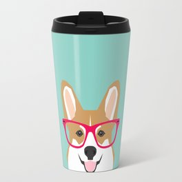 Teagan Glasses Corgi cute puppy welsh corgi gifts for dog lovers and pet owners love corgi puppies Travel Mug