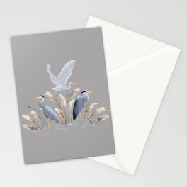 Great Blue Heron - Gray Stationery Cards