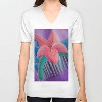 mulan V-neck T-shirts featuring Mulan Flower by Jgarciat