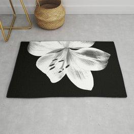 White Lily Black Background Rug