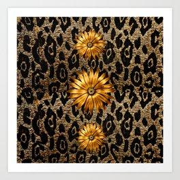 Animal Print Cheetah Triple Gold Art Print