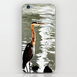 Grey heron Wading Bird River Bank iPhone Skin