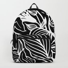 Black White Floral Minimalist Backpack