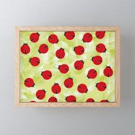 Ladybugs and leaves nature print Framed Mini Art Print