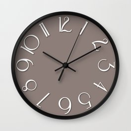 Reisling taup white Wall Clock