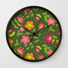 Bright Rounded Flowers on Bed of Dark Olive Leaves (pattern) Wall Clock