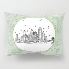 Philadelphia, Pennsylvania City Skyline Illustration Drawing Pillow Sham