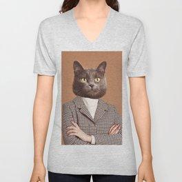 portrait of trendy catwoman Unisex V-Neck