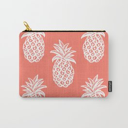 Coral Tropical Pineapple Summer Carry-All Pouch