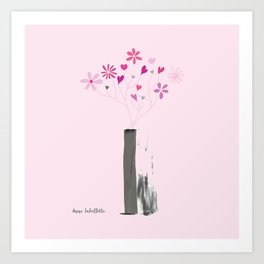 Valentine's Bouquet in Grey Vase Art Print