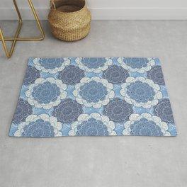 Lacy Blue & Navy Mandala Pattern  Rug