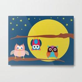 Cute Owls in the Night Metal Print