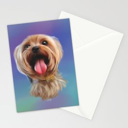 Yorkshire Terrier Dog Puppy digital painting Stationery Cards