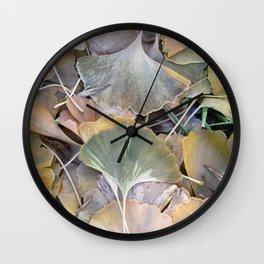 Fall Ginko Leaves Wall Clock