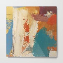 Rustic Orange Teal Abstract Metal Print