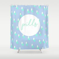 pills Shower Curtains featuring PASTEL PILLS by Mr. Alpe