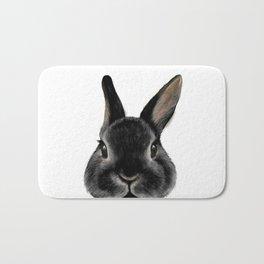 Netherland Dwarf rabbit Black, illustration original painting print Bath Mat