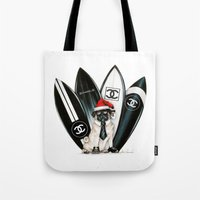 karl lagerfeld Tote Bags featuring Santa Pug Lagerfeld  by LATIN for GLORY