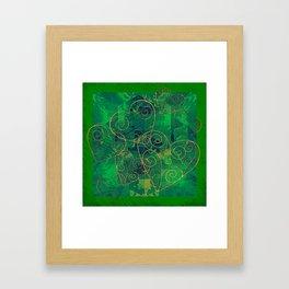 Golden Filigree Hearts on Green Abstract Framed Art Print