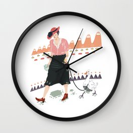 Woman with duck Wall Clock