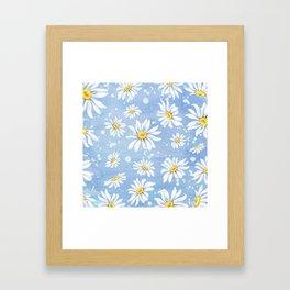 Spring Daisies On Sky Blue Watercolour Framed Art Print