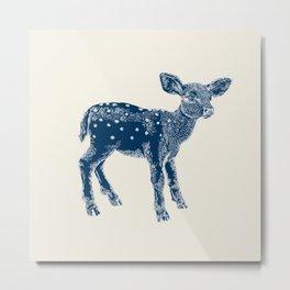 Dear Deer, Indigo on Vanilla Metal Print