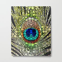 Peacock Feather - Stone Rock'd Art by Sharon Cummings Metal Print