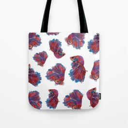 Ocean Theme- Red Blue Betta Fish Tote Bag