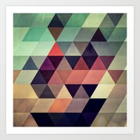 patterns Art Prints featuring tryypyzoyd by Spires