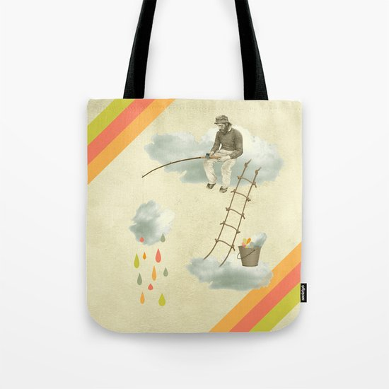 The fisherman who was cleaning the sky from the clouds Tote Bag