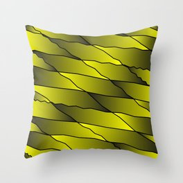 Slanting repetitive lines and rhombuses on iridescent yellow with intersection of glare. Throw Pillow