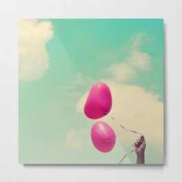 Free Love, Pink Heart Baloons on Retro Green Sky  Metal Print