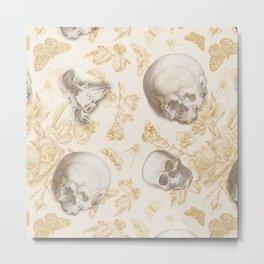Skulls, Flowers and Butterflies pattern on ivory Metal Print