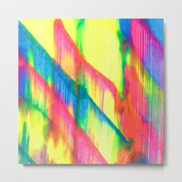 Glowing Neon Abstract Painting V2 Metal Print