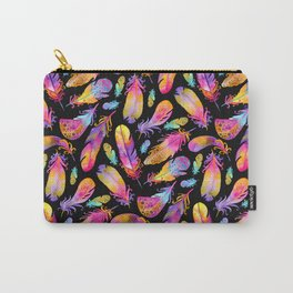 Sunset Feathers in Watercolour - Black Carry-All Pouch