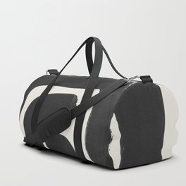 Black Ink Paint Brush Strokes Abstract Organic Pattern Mid Century Style Duffle Bag