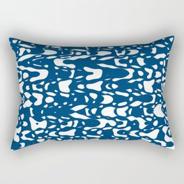 Classic blue, flying white pieces and small particles free in the space, relaxing texture design Rectangular Pillow