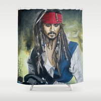 jack sparrow Shower Curtains featuring Captain Jack Sparrow by zlicka