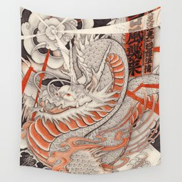 Japanese tattoo Typhoon dragon Wall Tapestry