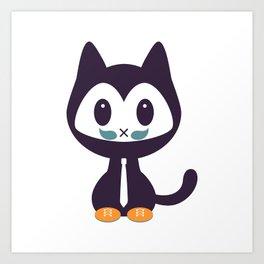 Cute kitten wearing tie Art Print