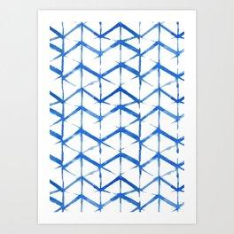 Blue Shibori Japanse Pattern Art Print
