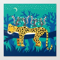 The Leopard and The Lemurs Canvas Print