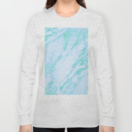 Teal Marble - Shimmery Glittery Turquoise Blue Sea Green Marble Metallic Long Sleeve T-shirt