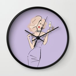 Fashion Blonde with champagne #3 Wall Clock